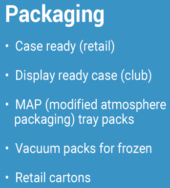 Packaging Case ready (retail) Display ready case (club) MAP (modified atmosphere packaging) tray packs Vacuum packs for frozen Retail cartons